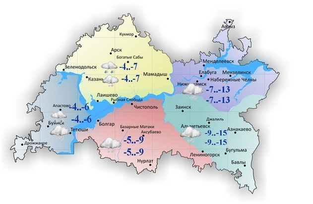 ВТатарстане 18декабря предполагается до-14°С и кое-где гололед